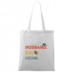 Bílá taška Husband. Daddy. Hero.