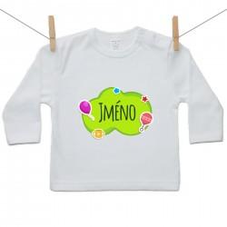 Tričko s dlouhým rukávem Zelená bublina se jménem dítěte
