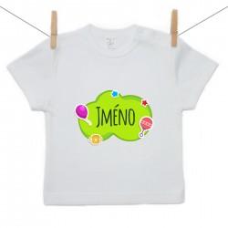Tričko s krátkým rukávem Zelená bublina se jménem dítěte