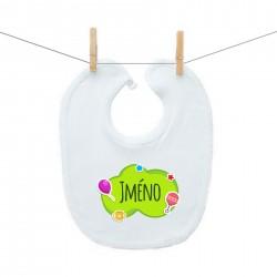 Bryndáček na zapínání Zelená bublina se jménem dítěte