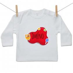 Tričko s dlouhým rukávem Červená bublina se jménem dítěte