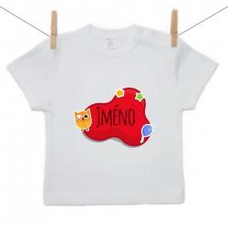 Tričko s krátkým rukávem Červená bublina se jménem dítěte