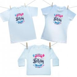 Rodinná sada (tričko s dlouhým rukávem) Happy birthday s jménem dítěte