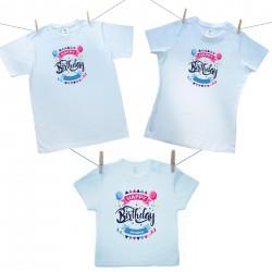 Rodinná sada (tričko s krátkým rukávem) Happy birthday s jménem dítěte