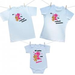 Rodinná sada (body s krátkým rukávem) Již 1 rok nejlepší rodiče holčičky s jménem děťátka