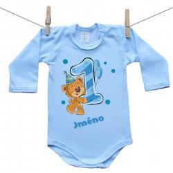 Modré body s dlouhým rukávem 1 rok s Medvídkem a jménem dítěte Chlapec