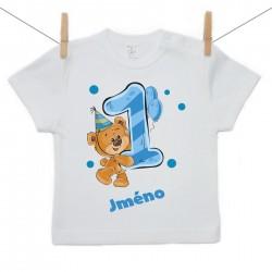 Tričko s krátkým rukávem 1 rok s Medvídkem a jménem dítěte Chlapec