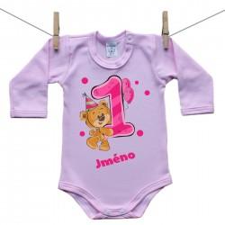 Růžové body s dlouhým rukávem 1 rok s Medvídkem a jménem dítěte Dívka