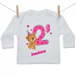 Tričko s dlouhým rukávem 2 roky s Medvídkem a jménem dítěte Dívka