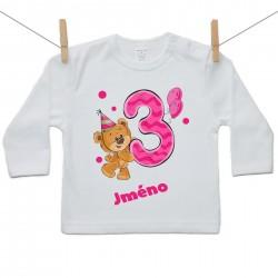 Tričko s dlouhým rukávem Mám 3 roky s Medvídkem a jménem dítěte Dívka