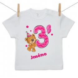 Tričko s krátkým rukávem Mám 3 roky s Medvídkem a jménem dítěte Dívka