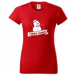 Červené dámské triko Sněhulák Veselé Vánoce