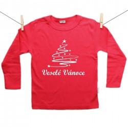Červené tričko s dlouhým rukávem Veselé Vánoce se stromečkem