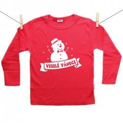 Červené tričko s dlouhým rukávem Sněhulák Veselé Vánoce