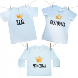 Rodinná sada (tričko s dlouhým rukávem) Rodinná sada Král, Královná, Princezna