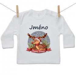 Tričko s dlouhým rukávem Veselé Vánoce se sobíkem a jménem dítěte