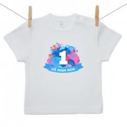 Tričko s krátkým rukávem Už mám 1 rok Modrá