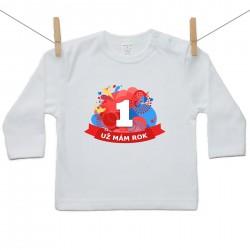 Tričko s dlouhým rukávem Už mám 1 rok Červená