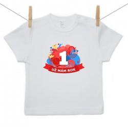 Tričko s krátkým rukávem Už mám 1 rok Červená