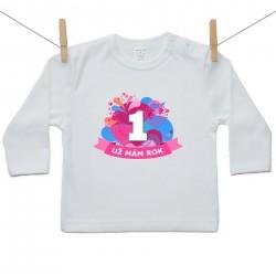 Tričko s dlouhým rukávem Už mám 1 rok Růžová