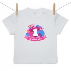 Tričko s krátkým rukávem Už mám 1 rok Růžová