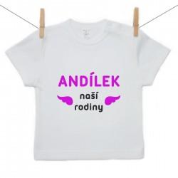 Tričko s krátkým rukávem Andílek naší rodiny Dívka