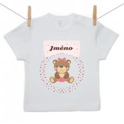 Tričko s krátkým rukávem se jménem dítěte Medvídek Dívka