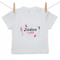 Tričko s krátkým rukávem se jménem dítěte a datem Dívka
