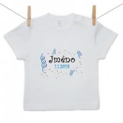 Tričko s krátkým rukávem se jménem dítěte a datem Chlapec