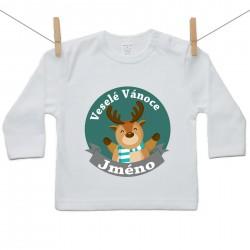 Tričko s dlouhým rukávem Veselé Vánoce se jménem dítěte