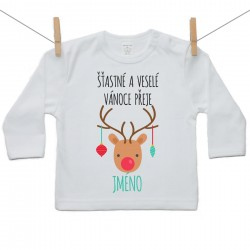 Tričko s dlouhým rukávem Šťastné a veselé Vánoce přeje se jménem dítěte Chlapec