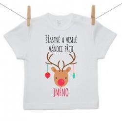 Tričko s krátkým rukávem Šťastné a veselé Vánoce přeje se jménem dítěte Dívka