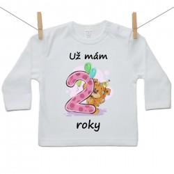 Tričko s dlouhým rukávem Už mám 2 roky Dívka