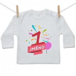 Tričko s dlouhým rukávem 1 rok se jménem dítěte Dívka