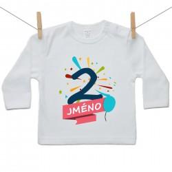 Tričko s dlouhým rukávem 2 roky se jménem dítěte Chlapec