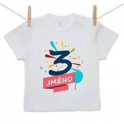 Tričko s krátkým rukávem 3 roky se jménem dítěte Chlapec