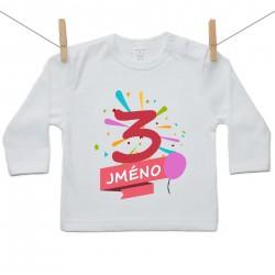 Tričko s dlouhým rukávem 3 roky se jménem dítěte Dívka