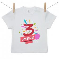 Tričko s krátkým rukávem 3 roky se jménem dítěte Dívka