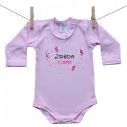Body s dlouhým rukávem (růžové) se jménem dítěte a datem Dívka