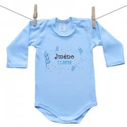 Body s dlouhým rukávem (modré) se jménem dítěte a datem Chlapec