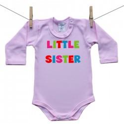 Růžové body s dlouhým rukávem Little sister
