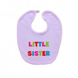Růžový bryndáček na zapínání Little sister