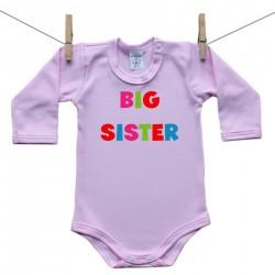 Růžové body s dlouhým rukávem Big sister