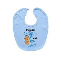 Modrý bryndáček na zapínání Už mám 1 rok s Medvídkem a jménem dítěte Chlapec