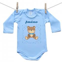 Modré body s dlouhým rukávem se jménem dítěte Medvídek Chlapec