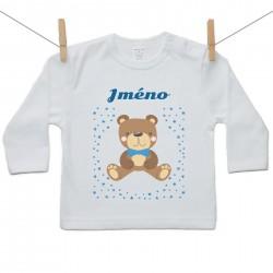 Tričko s dlouhým rukávem se jménem dítěte Medvídek Chlapec