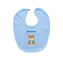 Modrý bryndáček na zapínání se jménem dítěte Medvídek Chlapec