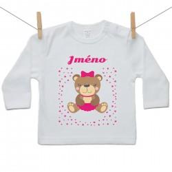 Tričko s dlouhým rukávem se jménem dítěte Medvídek Dívka