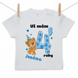 Tričko s krátkým rukávem Už mám 4 roky s Medvídkem a jménem dítěte Chlapec