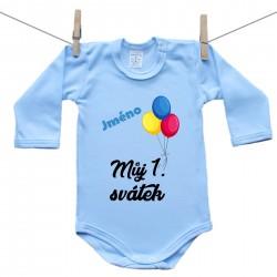 Modré body s dlouhým rukávem Můj 1. svátek se jménem dítěte Medvídek Chlapec